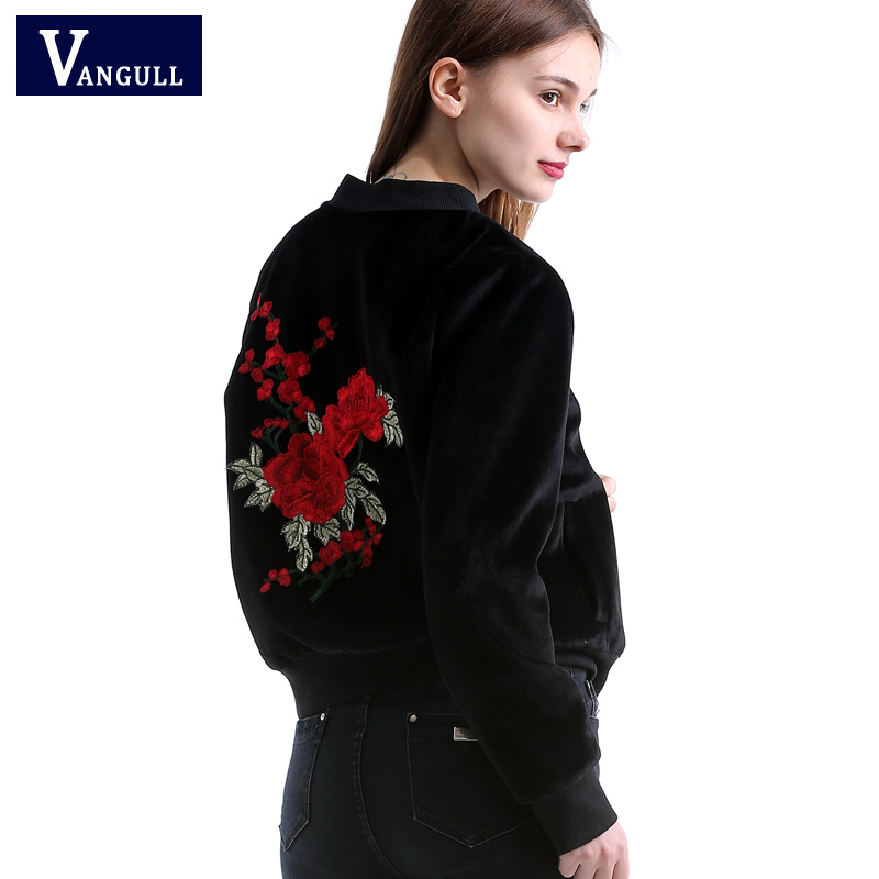 Vangull New embroidery   basic     jacket   coat Spring 2018 street satin bomber   jacket   Women reversible baseball   jackets   sukajan