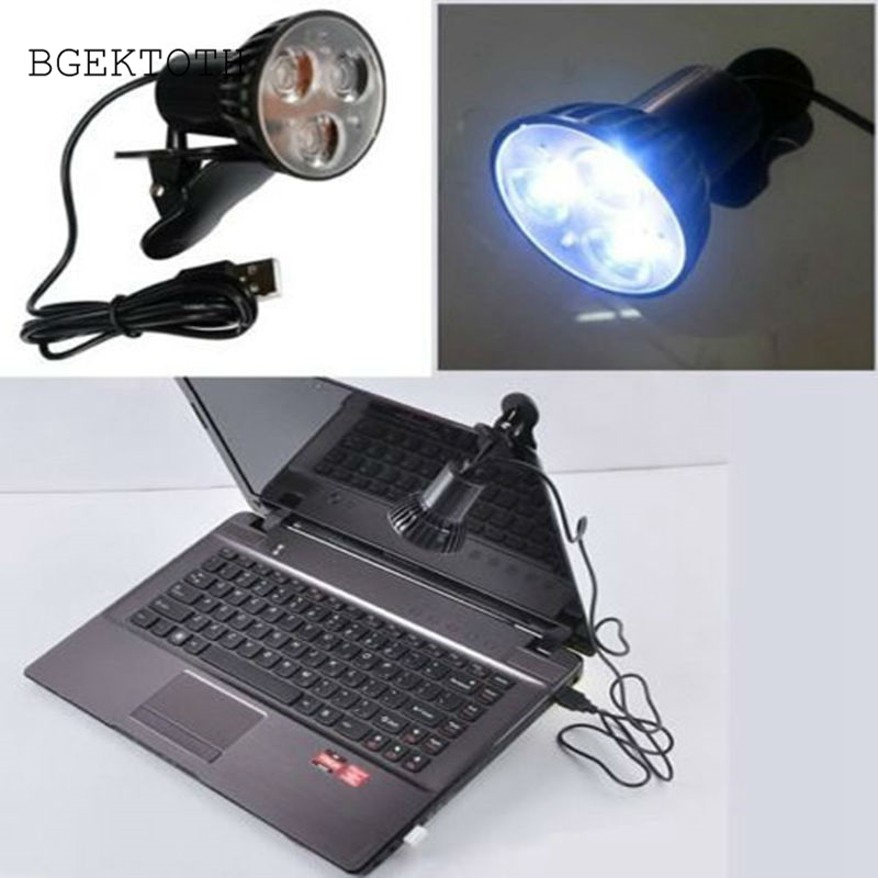 BGEKTOTH Flexible Super Bright 3 LED Clip On Spot USB Light Lamp For Laptop PC Notebook Computer Work At Night Eye protection image