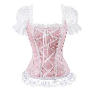 Image 1 - Floreale overbust corsetto della maglia più bustier del corsetto top per le donne con tre quarti maniche di pizzo up broccato cinghia di spalla di corsetto più il formato sexy