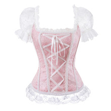 floral overbust corset vest bustier corset tops for women with sleeves lace up brocade shoulder strap corselet plus size sexy