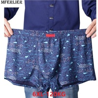 men Boxer geometry print cotton Modal navy blue elasticity plus big size 6XL large Underpants Underwear Boxershorts Breathable