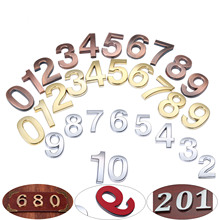 50mm ABS Plastic Bronze Self-Adhesive 0-9 Curved Door Numbers Customized House Address Sign