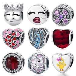 Authentic S925 Sterling Silver Bead Pink CZ Crystal Lips Valentine's Day Charm Fit Original Pandora Bracelets DIY Charms Making