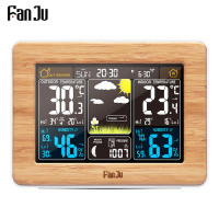 FanJu fj3365 Digital Alarm Clock Color Weather Station Temperature Humidity Sensor Barometer Forecast Desk Table Watch Clocks