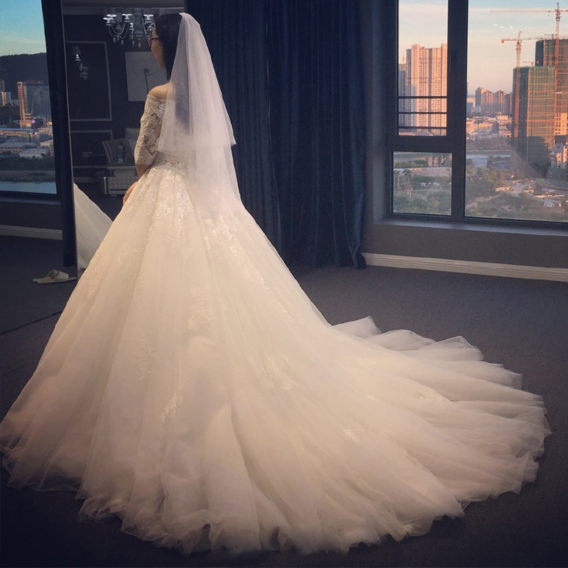 Image 3 - AIJINGYU 2018 elegant free shipping new hot selling cheap ball gown lace up back formal bride dresses wedding dress WK380-in Wedding Dresses from Weddings & Events