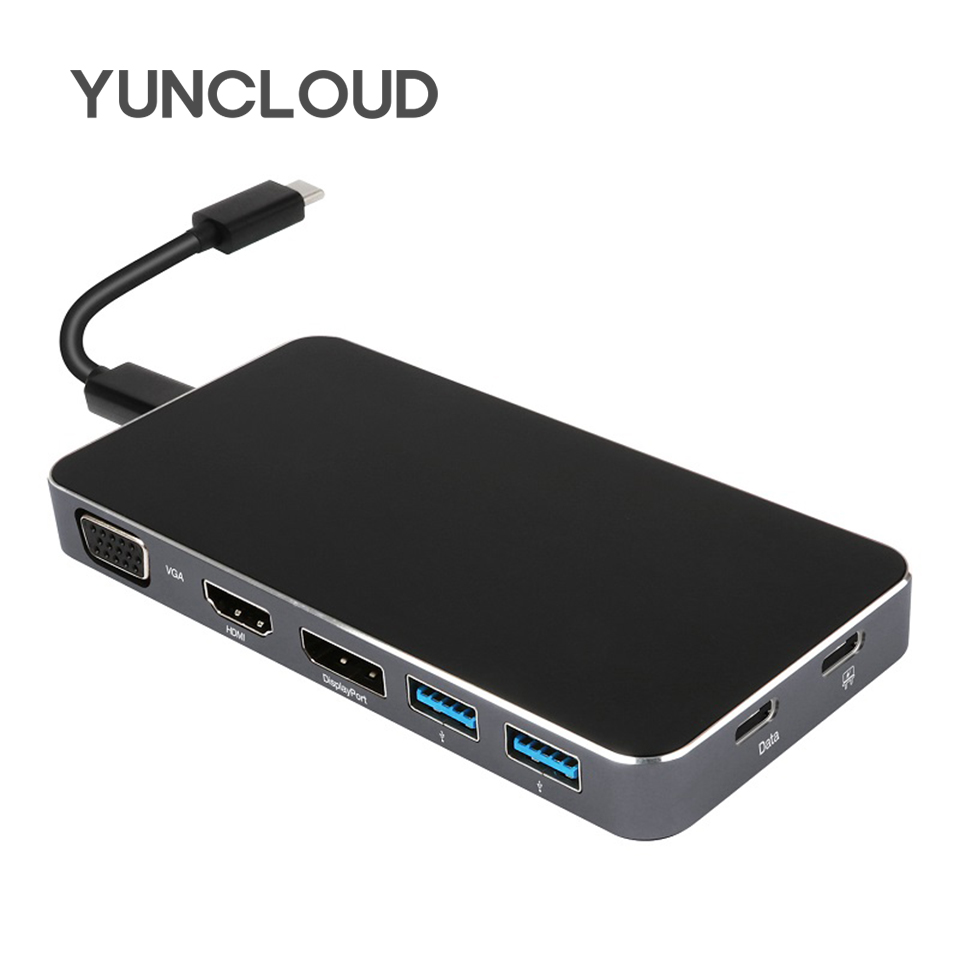 YUNCLOUD USB Type-C 3.1 Hub with VGA HDMI DP Dual USB 3.0 1080P Video Adapter With Type C PD Power Delivery USB C 7 IN 1 Hub футболка kenzo футболка
