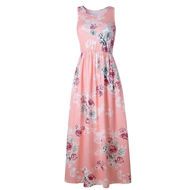 10e2b9e2e vestido estampado floral vestidos largos de verano moda 2019 ropa mujer  talla grande vestido de cintura ...