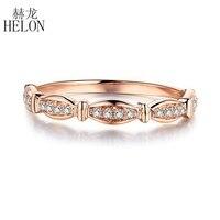 HELON природных алмазов кольцо 10 К розового золота кольцо классический девушке подарок Для женщин Лидер продаж вечерние Обручение Мода Fine