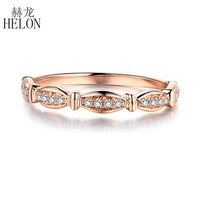 HELON Natural diamond Ring 10k Rose Gold Ring Classic Girl gift Women Hot Selling Party Engagement Trendy Fine Jewelry Rings