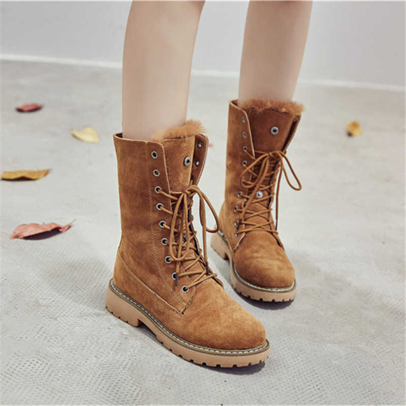 c423adc8c8cf ... RASMEUP Genuine Leather Fur Lace-up Women s Martin Boots Winter Thick  Warm Plush Women Mid