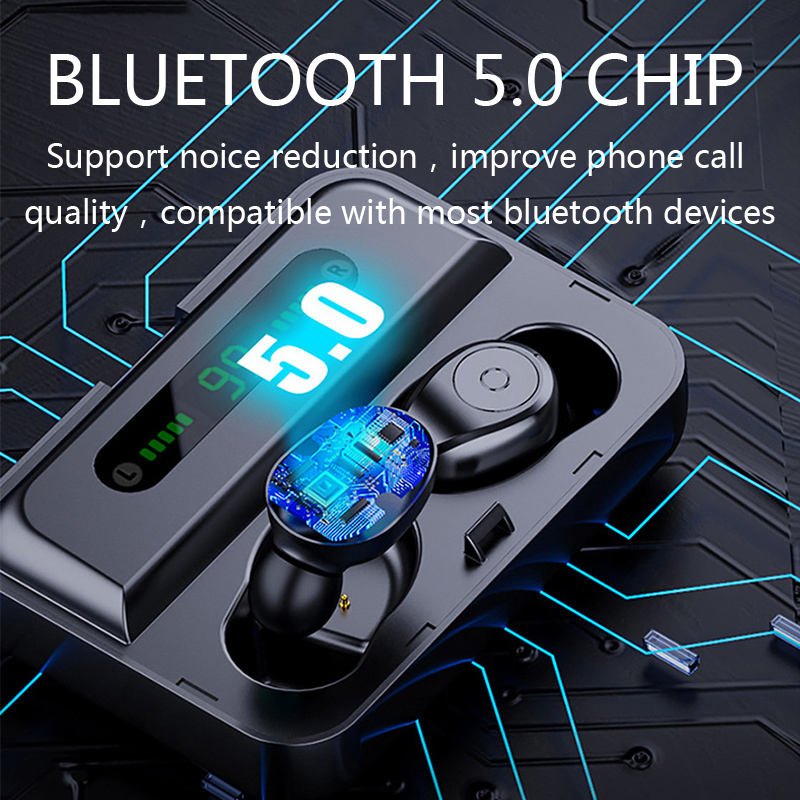 CBAOOO F9 3 Bluetooth Earphones TWS 5 0V Waterproof HD Stereo Wireless earbuds Noise Cancelling Gaming Headset LED Power display in Bluetooth Earphones Headphones from Consumer Electronics
