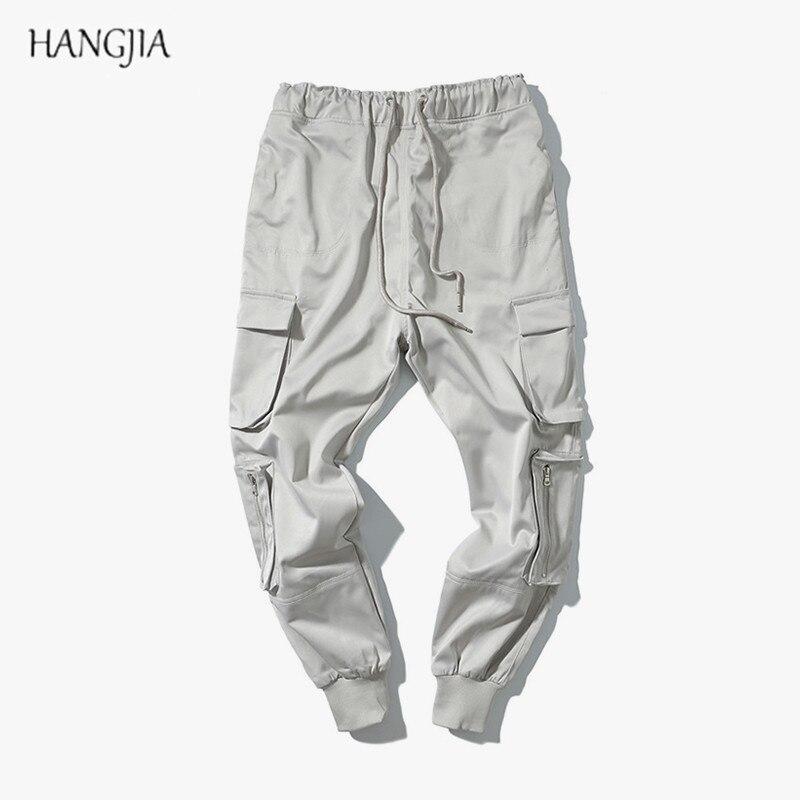 Hombres Calle Europeo La Elasticidad Marea Beige Pantalones De Algodón Sólido Color gris Americano Los bolsillos Multi Toursers dBYFqwd