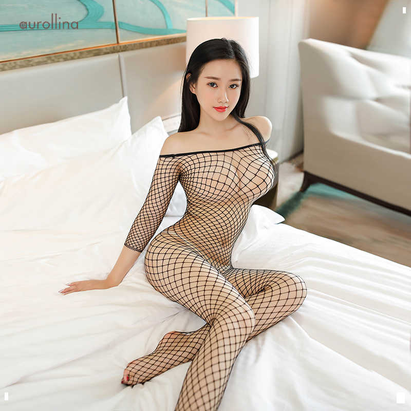 Black Sexy Full Body Fishnet Nylon Mesh Bodysuit Women Tops Body Suit Strapless Bodycon Rompers Womens Jumpsuit Party Playsuit