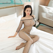 Black Sexy Full Body Fishnet Nylon Mesh Bodysuit Women Tops Suit Strapless Bodycon Rompers Womens Jumpsuit Party Playsuit