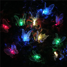 Hot Sale 12 LED Solar Powered Butterfly light Fiber Optic Fairy String Outdoor Garden Lights lamp Holiday Festival Party Decor(China)