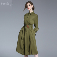 2017 Top Quality Spring Summer Women Elegant Army Green Dress Long Sleeve Adjustable Waist Bodysuit Middle