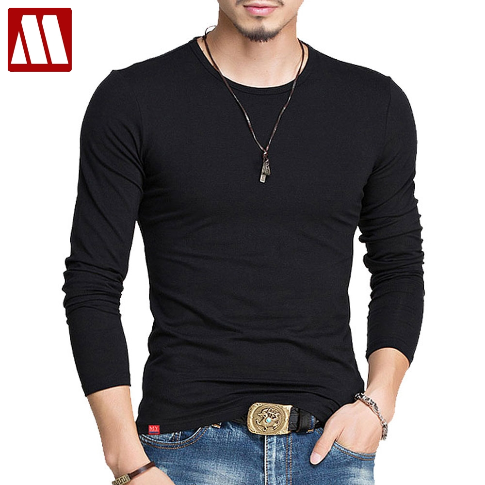 MYDBSH Cotton Design T Shirts Men Long Sleeve Slim Tshirt