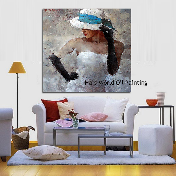 1 Peices Free Shipping100% Hand Painted Abstract Girl Oil Painting Home Decoration Modern Acrylic Paintings no Framed Canvas Art no frame canvas