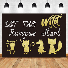 NeoBack Golden Cartoon Animal Shape Background Let The Wild Rumpus Start Photography Backdrops For Photo Studio