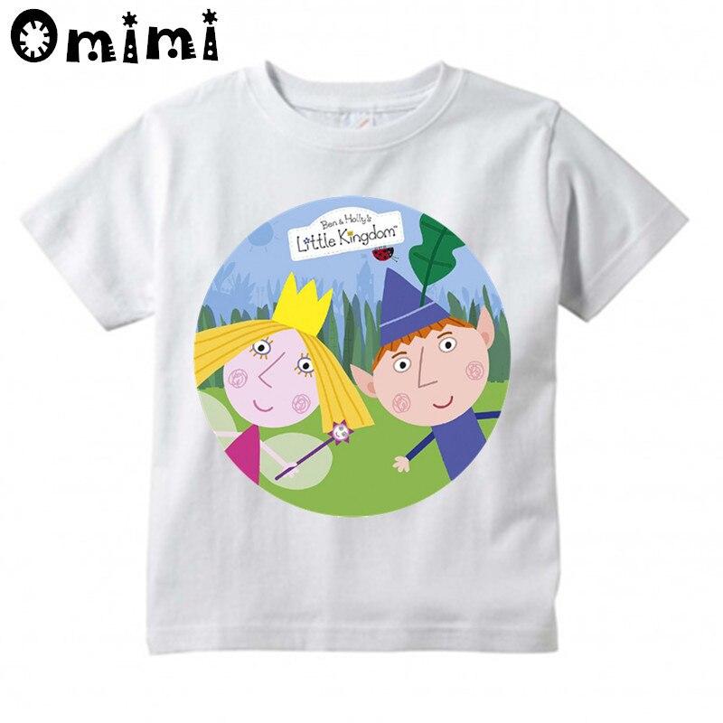 Kids Ben And Holly Kingdom Cartoon Design T Shirt Boys/Girls Casual Tops Children's Summer White Cute T-Shirt