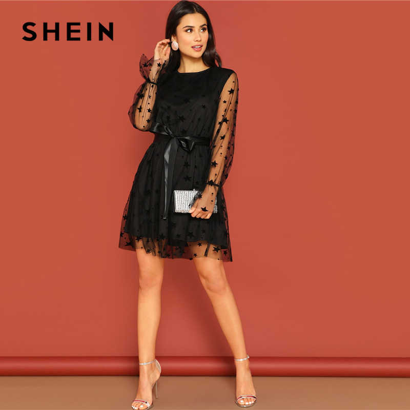 14e8f9bf83a9 ... SHEIN Party Black Star Mesh Overlay Sheer Bell Sleeve Ribbon Belted Dress  Women Spring O- ...