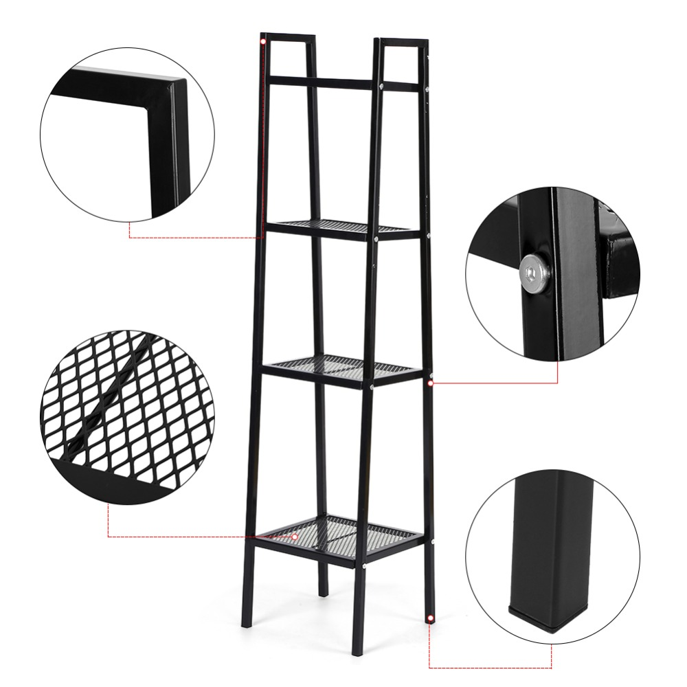 Strong-Willed 4 Tier Ladder Shelf Unit Bookshelf Bookcase Book Storage Display Rack Stand 35*35*145cm Professional Home