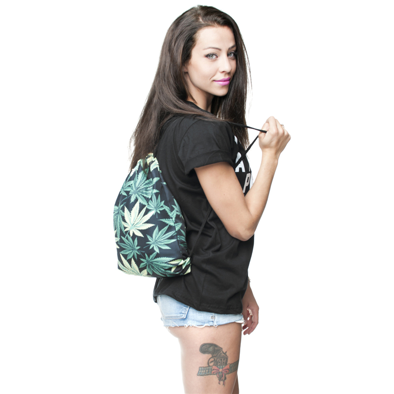 Drawstring Backpack with Cannabis Leaf Pattern Backpacks Best Deals
