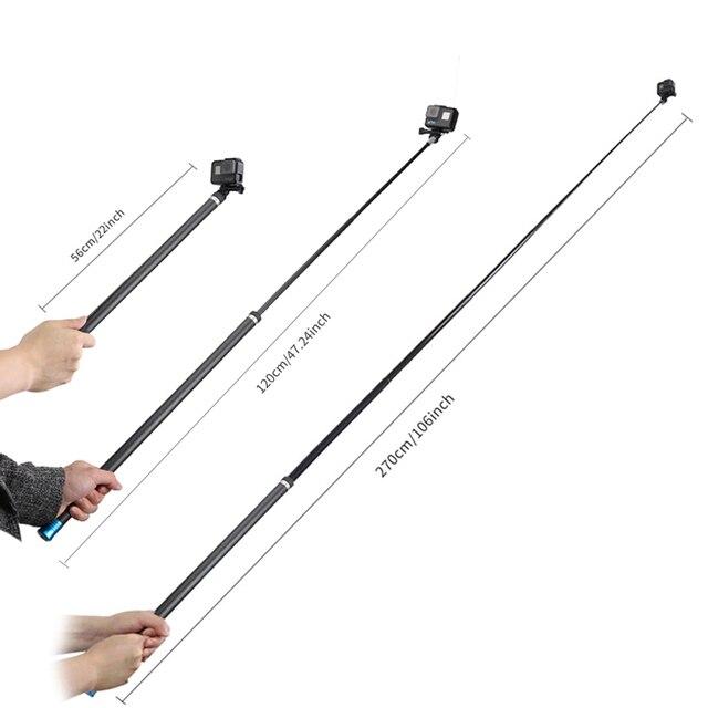 """106 """"długi z włókna węglowego ręczny kij do Selfie wysuwany kijek monopod do GoPro Hero 6 5 4 3 Xiaomi YI SJCAM Eken SOOCOO"""