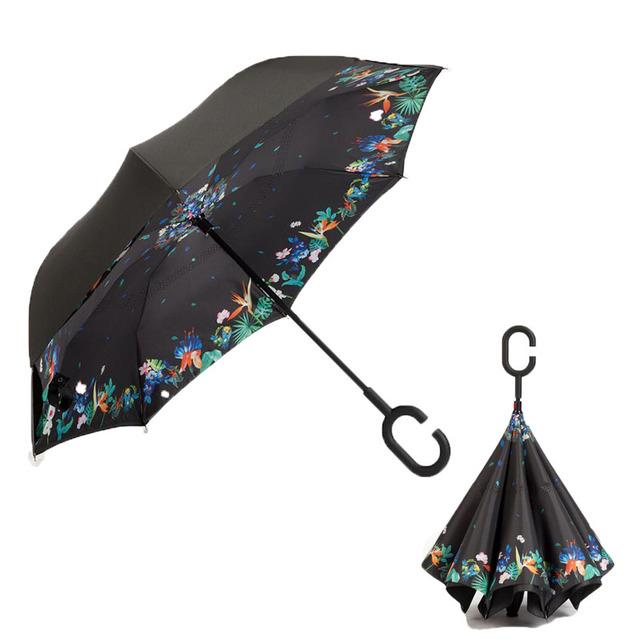 Yesello Windproof Reverse Umbrella+ Inverted Umbrellas Holder Car Bag for fishing Men
