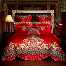 New Luxury European Wedding Gold Royal Embroidery Egyptian Cotton Palace Bedding Set Duvet Cover Bed sheet Bedspread Pillowcases