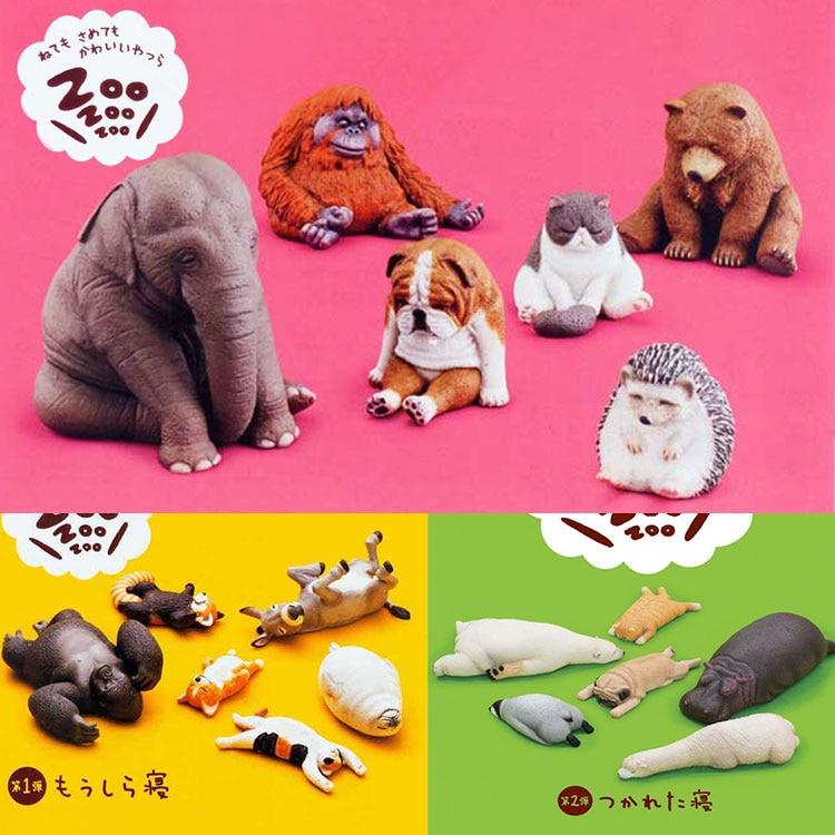 Japanese Original Capsule Sleeping Zoo Animal Hedgehog Hippo Elephant Pug Kangaroo Orangutan Seal Gashapon Figure Toys