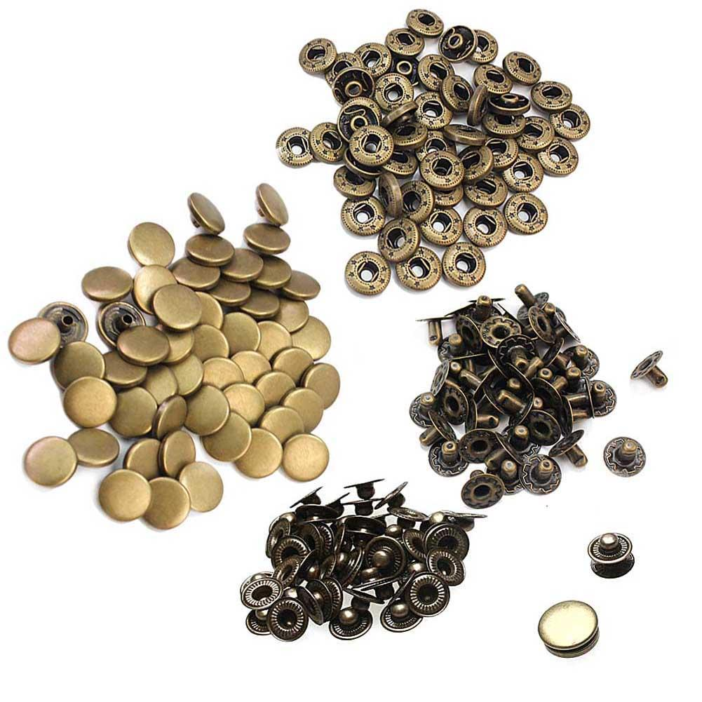 50Pcs 12mm Sewing Metal Snap Press Bronze Snap Fastener Buttons Vintage Style Scrapbooking Clothing Bags Craft Decor Accessories