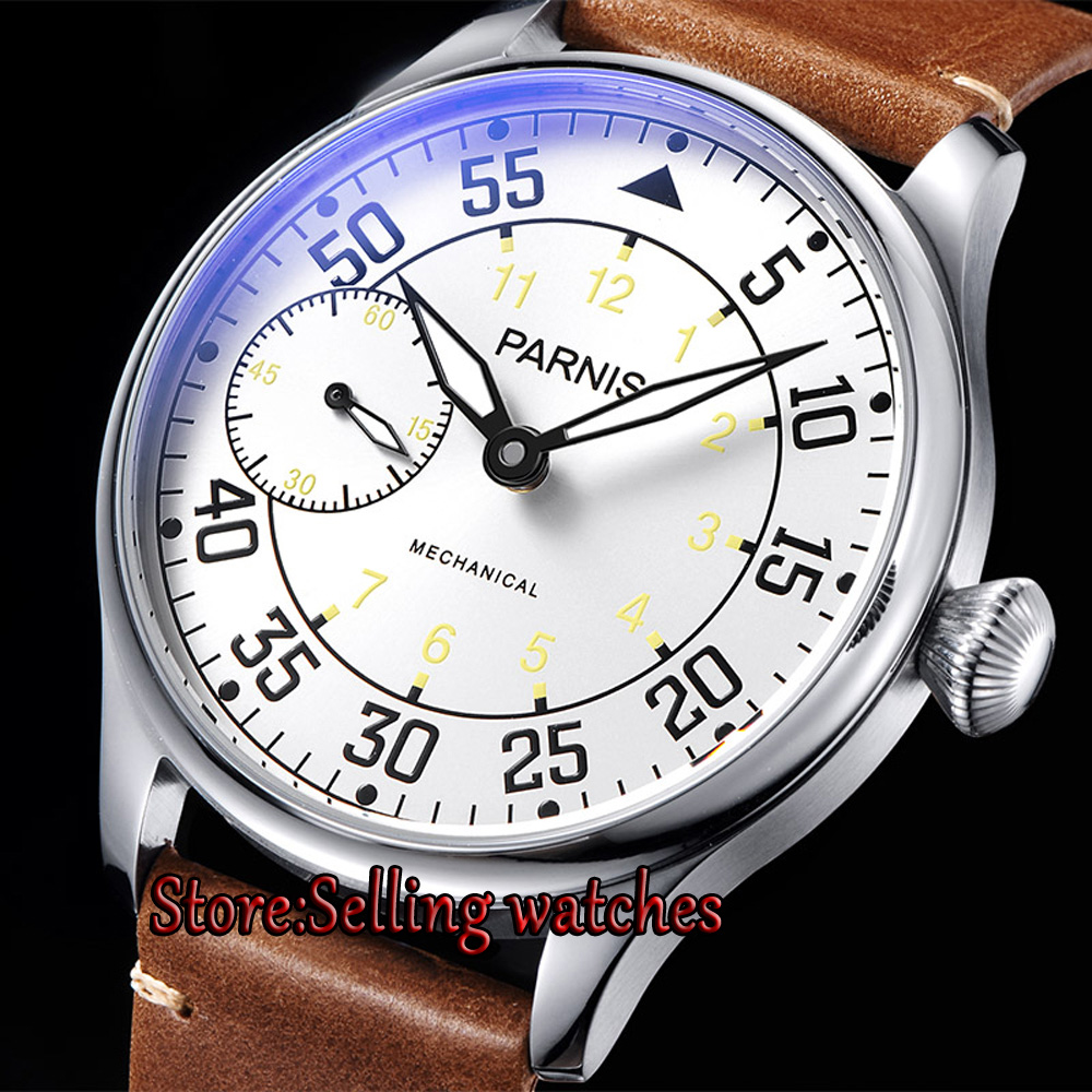 44mm parnis white dial ST 3600 Stainless Steel Case hand winding 6497 mechanical mens watch цена и фото