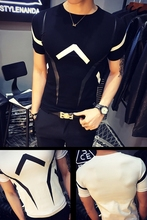 2018 British Slim tough guy geometric lines printed short-sleeved mens T-shirt fashion convent