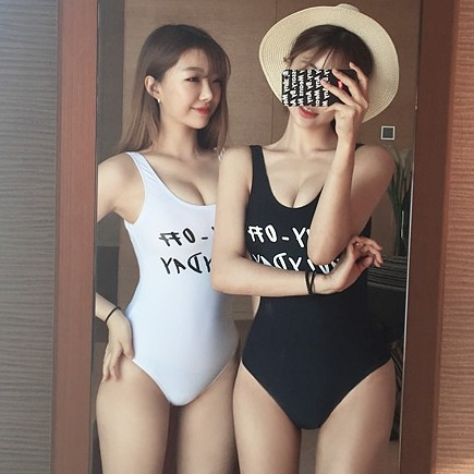 2017 One Piece Swimsuit Swimwear font b Women b font Sexy Black White Swimwear Sport Style
