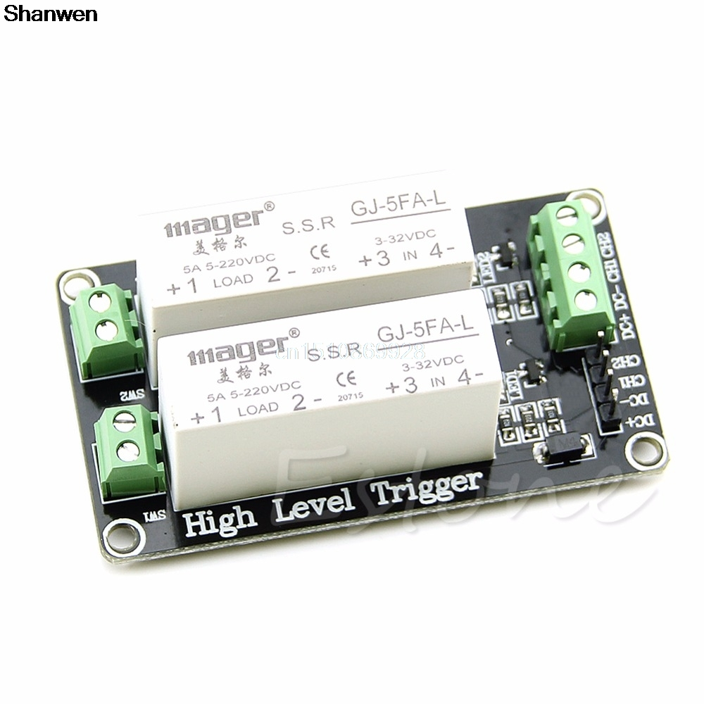 2 Channel SSR Solid State Relay High-low trigger 5A 5v12v For Arduino Uno R3 4 channel ssr solid state relay high low trigger 5a 3 32v for uno r3 h02