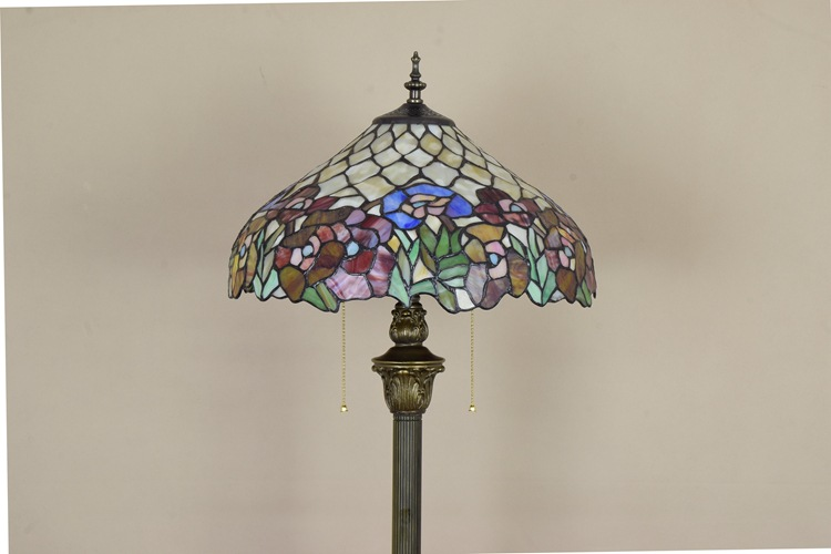 16inch Tiffany Flesh Country Flowers Stained Glass floor lamp E27 110-240V for Home Parlor Dining bed Room