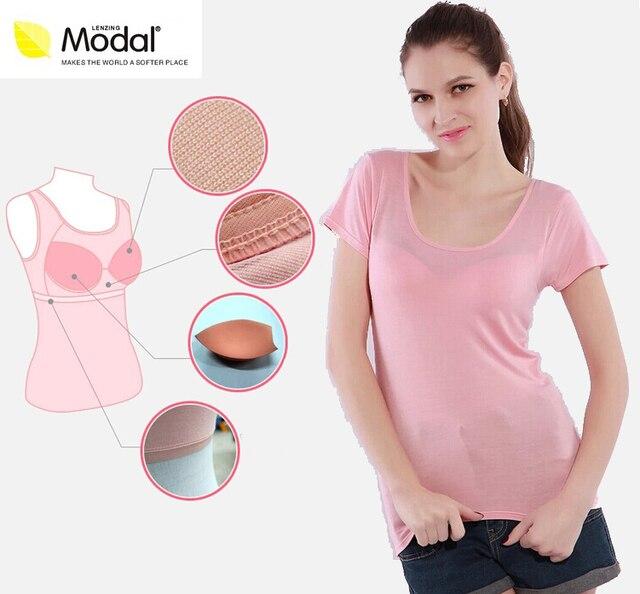 Female wireless cup bra sports basic shirt Tank Shirt Camisole Cami Ladies Summer Shirt