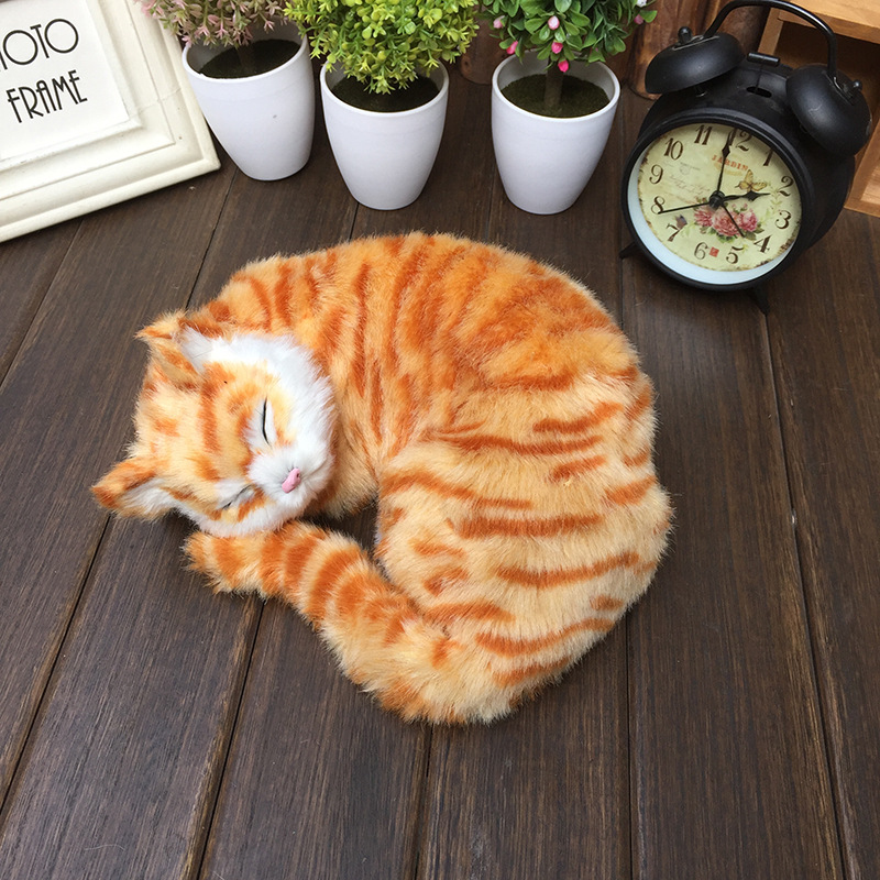 US $16 14 5% OFF|plush animals lifelike sleeping cats realistic home pets  doll models simulation sleep cat figures children gifts cognitive toys-in
