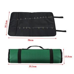 Image 3 - 4 Color Choice Chef Knife Bag Roll Bag Carry Case Bag Kitchen Cooking Portable Durable Storage 22 Pockets Black Blue Green