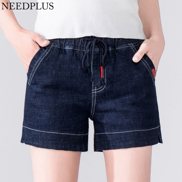 498db309ee 2019 taille haute Shorts femmes coton taille haute Denim Shorts grande  taille dames taille élastique Denim