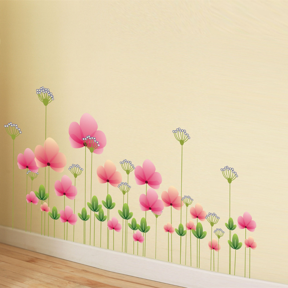 Latest romantic pink flower wall sticker for kids room home decor latest romantic pink flower wall sticker for kids room home decor beauty lotus tv background wall decoration in wall stickers from home garden on mightylinksfo