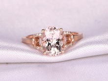 MYRAY 14k Rose Gold 6x8mm Oval Cut Natural Pink Morganite Diamond Women Engagement Ring Anniversary Party Rings Vintage Antique