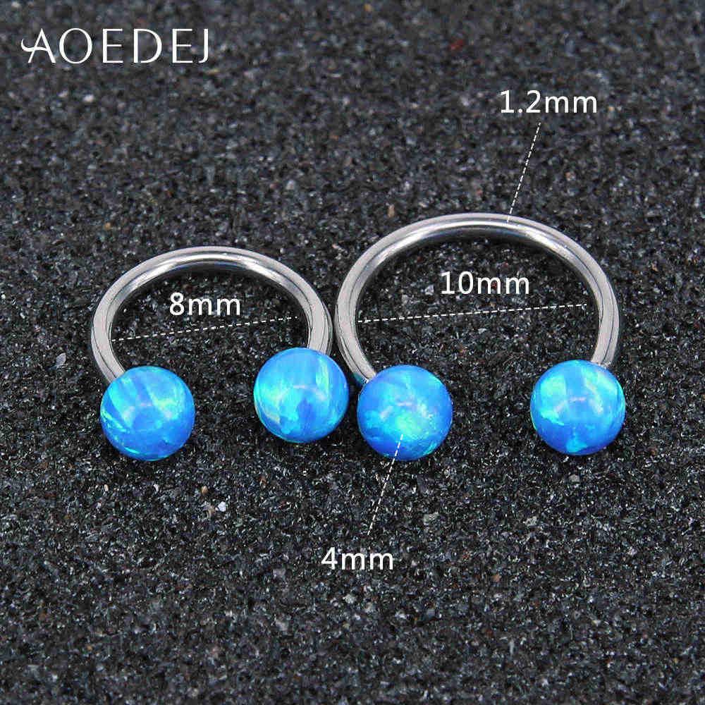 AOEDEJ 3 צבעים אש אופל טבעי אבן מחץ פירסינג נירוסטה 16g אמיתי אוזן Tragus סחוס Helix פירסינג עגילים