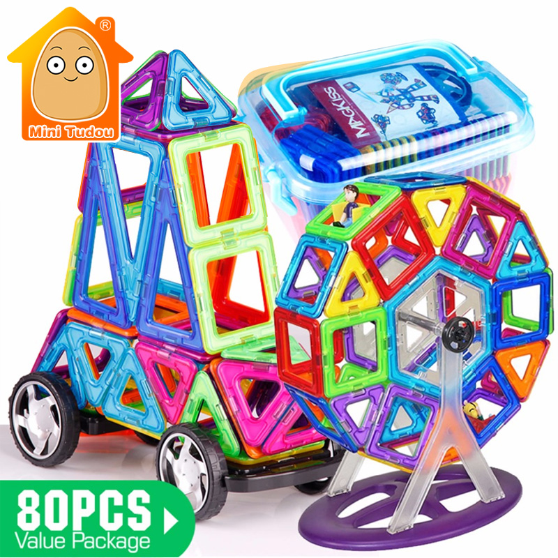 Minitudou 80PCS Magnetic Bricks Building Blocks 3D DIY Plastic Model Kits Learning Education Toys Best Gift 62pcs set magnetic building block 3d blocks diy kids toys educational model building kits magnetic bricks toy