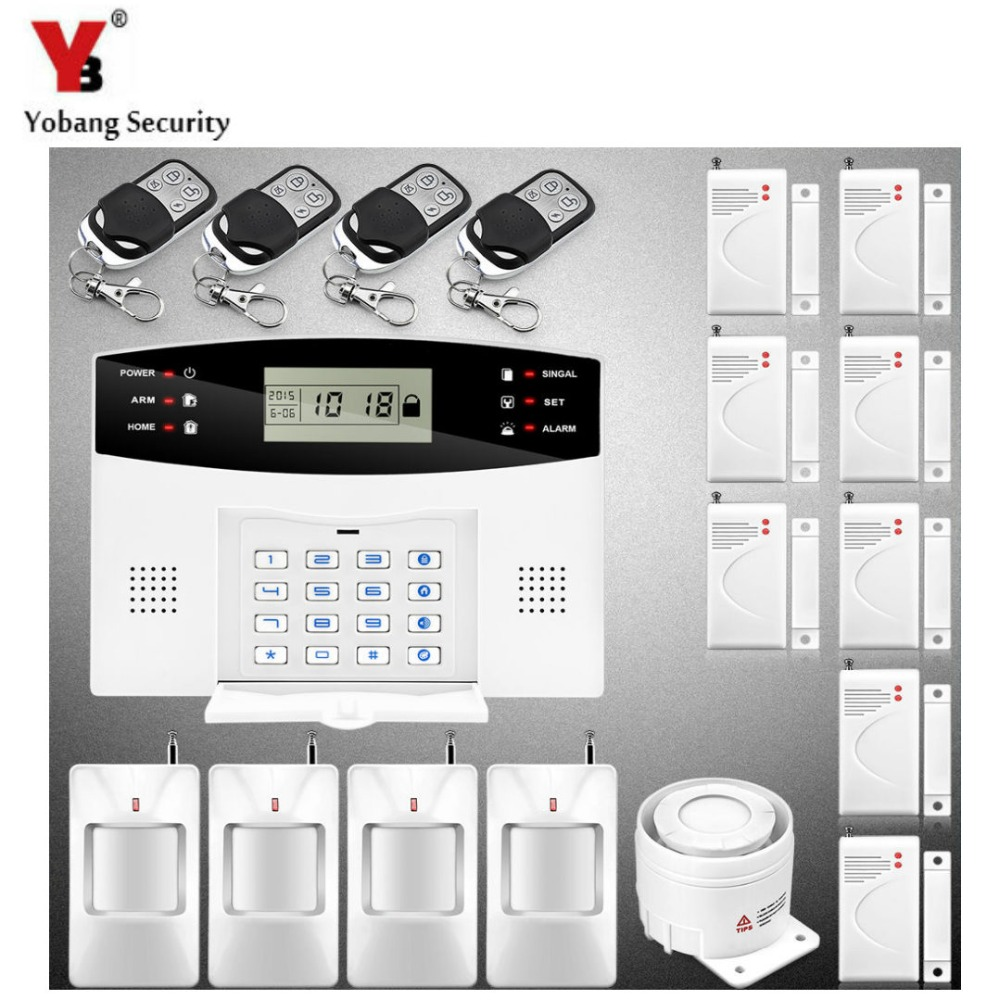 YobangSecurity  7 Wired 99 Wireless Guard Zones GSM Burglar Alarm System Security Home Voice Prompt Remote Control Alarm Sensor chinese factory gprs gsm security guard patrolling system guard tour control