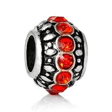 1PC DoreenBeads European Charm Beads Round Vintage antique silver Orange Red Rhinestone Faceted About 11mmx7mm,Hole: 4.9mm(China)