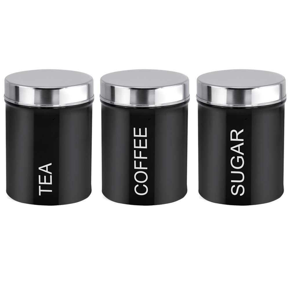 V King New Arrivals Elegant Stainless Steel Seal Pot Tea Storage Bottle Jar Black Coffee Sugar Container Set In Bottles Jars From Home
