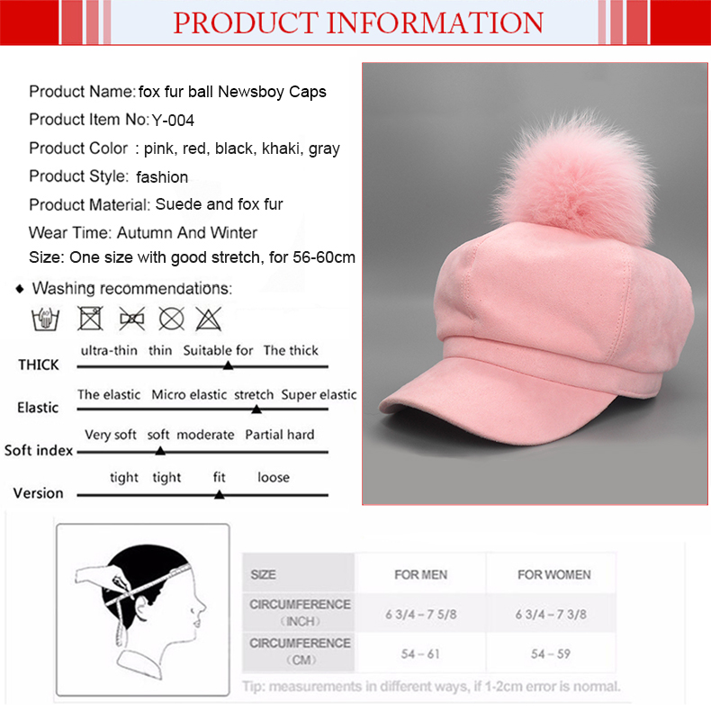 41da1847331 Solid Suede Fox Fur Ball Newsboy Caps Pink Pom Poms Winter Octagonal ...