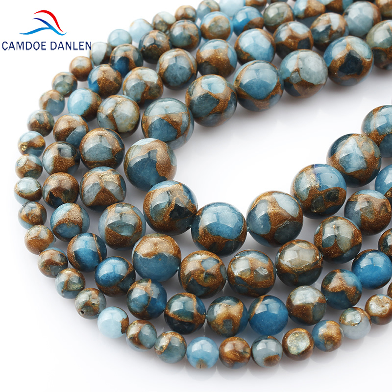 CAMDOE DANLEN Natural Stone Beads Gold Blue Colored Cloisonne Beads 4/6/8/10/12mm Fit DIY Bracelet Necklace For Jewelry Making